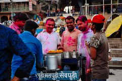 Local vendor in Varanasi, India. Local vendor serves customers in Varanasi, India royalty free stock photos