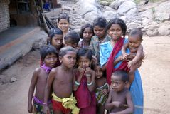 Local village children greet visitors Royalty Free Stock Images