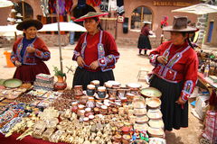 Local village women in Raqchi. Peru Stock Images
