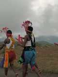 Local villagers celebrate a harvest festival in the hills Stock Images