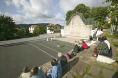 Local villagers in Sare, France, in Basque Country on the Spanish-French border, watch Jai Li game near St. Jean de Luz, on the Co. Te Basque, South West France stock photo