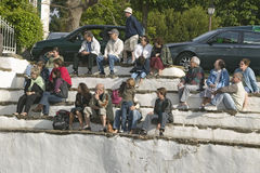 Local villagers in Sare, France, in Basque Country on the Spanish-French border, watch Jai Li game near St. Jean de Luz, on the Co. Te Basque, South West France stock photos
