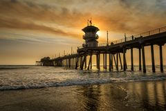 Smoky skies over Huntington Beach pier Stock Photography