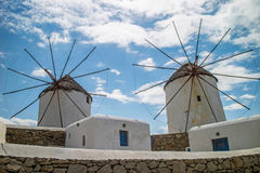 Local windmills in Mykonos (Greece) Stock Images