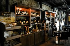 Local winery in the medieval town of Offida in central Italy. Inside view of local winery in the medieval town of Offida. Offida produces various types of fine stock photos