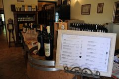 Local winery in the medieval town of Offida in central Italy. Inside view of local winery in the medieval town of Offida. Offida produces various types of fine royalty free stock photo