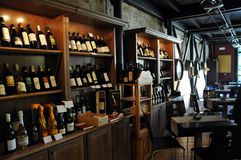 Local winery in the medieval town of Offida in central Italy. Inside view of local winery in the medieval town of Offida. Offida produces various types of fine stock photo