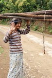 Local Woman Carrying Goods on Head in Chin State, Myanmar Royalty Free Stock Photos