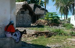 A local woman in her seaside village in Zanzibar Stock Photos