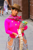 Local woman selling snacks in the street in Lima, Peru. Royalty Free Stock Photos