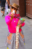 Local woman selling snacks in the street of Lima, Peru Stock Photography