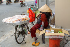 Local woman street vendor Stock Image