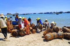 Local women are cleaning their baskets which were used for transporting fishes from the boat to the truck Stock Photo