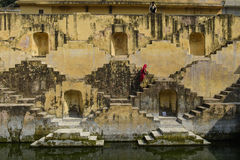 Local Women crossing step wells Royalty Free Stock Images