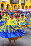 Local women dancing during Festival of the Virgin de la Candelar. Ia in Lima, Peru. The core of the festival is dancing and music performed by different dance Royalty Free Stock Images