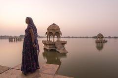 Local Women in Gadisar Lake. Royalty Free Stock Images