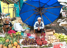 Local women sell local vegetable at the market , Indonesia Royalty Free Stock Images