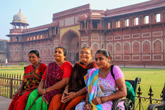 Local women sitting outside Jahangiri Mahal in Agra Fort, Uttar Royalty Free Stock Images