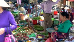 Local women stall holders and people on the daytime streets at Hoi An Market, Vietnam stock video footage