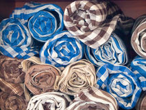 Local woven fabric products, Thailand. Group of blue and brown Local woven fabric products, Thailand Royalty Free Stock Images