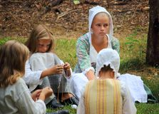Local young citizens perform historical crafts in the Norwegian Museum of Cultural History Norsk Folkemuseum which was establish. Bygdoy Peninsula, Oslo, Norway stock photography