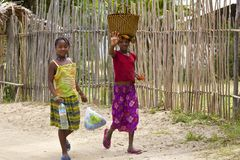 Local young girls in Madagascar Royalty Free Stock Photography