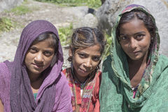 Local young girls in Manali, India. MANALI, INDIA - SEPTEMBER 16, 2014: Unidentified local young girls, outdoor in Manali . The majority of the local population royalty free stock photo
