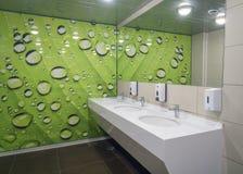 Locale di riposo vuoto pubblico con lo specchio dei washstands Fotografia Stock