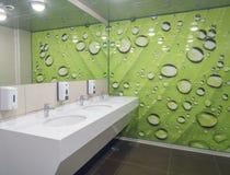 Locale di riposo vuoto pubblico con lo specchio dei washstands Fotografie Stock Libere da Diritti