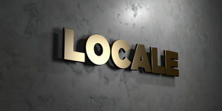 Locale - Gold sign mounted on glossy marble wall  - 3D rendered royalty free stock illustration Royalty Free Stock Photos