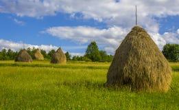 Locale Hay Bales in Breb rurale, Romania immagini stock libere da diritti