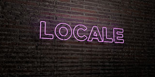 LOCALE -Realistic Neon Sign on Brick Wall background - 3D rendered royalty free stock image Royalty Free Stock Image