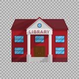 Locali della biblioteca nello stile piano isolati sull'illustrazione trasparente di vettore del fondo illustrazione vettoriale