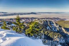 Località di soggiorno di corsa con gli sci a Postavarul, Brasov, la Transilvania, Romania immagini stock