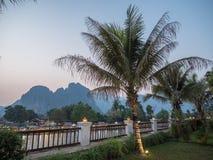 Località di soggiorno del boutique della riva del fiume, Vang Vieng Fotografia Stock