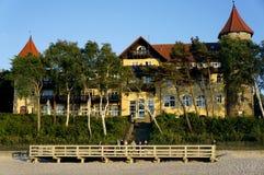 Località di soggiorno del mare al crepuscolo Fotografia Stock