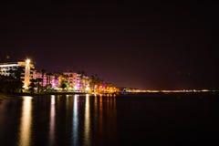 Località di soggiorno della città di notte in marmaris della Turchia Fotografia Stock Libera da Diritti