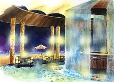 Località di soggiorno di colore di acqua tramite l'illustrazione della spiaggia Immagine Stock