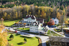Località di soggiorno di Hohenschwangau di vista panoramica Fotografia Stock