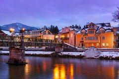 Località di soggiorno di stazione termale cattivo Ischl Austria al tramonto Fotografie Stock