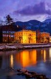 Località di soggiorno di stazione termale cattivo Ischl Austria al tramonto Fotografia Stock