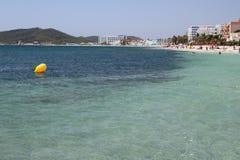 Località di soggiorno mediterranea popolare Tana Bossa, Ibiza, Spagna di Playa Fotografie Stock