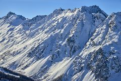 Località di soggiorno di montagna dello sci Samnaun/di Ischgl, Austria ad orario invernale Fotografia Stock Libera da Diritti