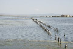 Località di soggiorno di Pomorie in Bulgaria Lago Pomorie fotografia stock