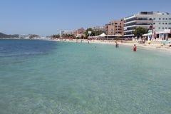 Località di soggiorno popolare al Mediterraneo Tana Bossa, Ibiza, Spagna di Playa Fotografia Stock