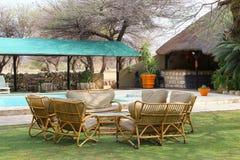 Località di soggiorno della piscina della mobilia del salotto, Africa Fotografia Stock Libera da Diritti