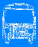 Localities in England. Word cloud concept over bus shape Royalty Free Stock Photos