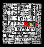Localities in Spain. Word cloud concept Stock Photography
