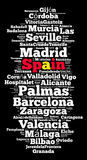 Localities in Spain. Word cloud concept over dark background Royalty Free Stock Photography