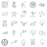 Locality icons set, outline style. Locality icons set. Outline set of 25 locality vector icons for web isolated on white background Stock Photo